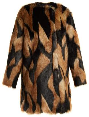 Givenchy Faux Fur Coat - Womens - Brown Multi