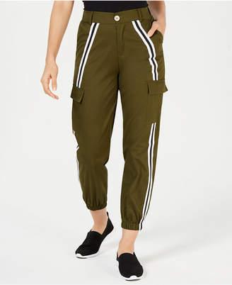 Waisted Side-Striped Cargo Pants