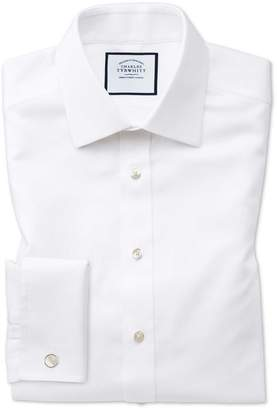Charles Tyrwhitt Classic Fit Non-Iron White Arrow Weave Cotton Dress Shirt Single Cuff Size 15/34