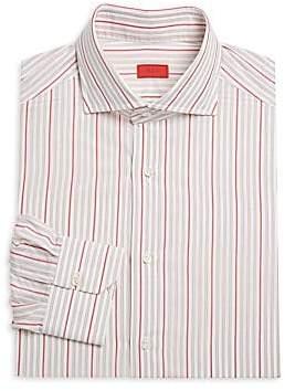 Isaia Men's Two-Color Stripe Cotton Dress Shirt