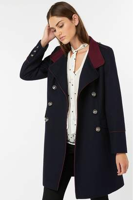 Monsoon Womens Ladies Navy Mya Military Coat - Blue