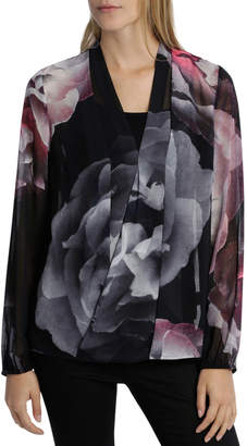 Hot Price Red/Black Moon Floral Drape Top