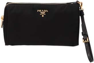 Prada Small Nylon Cosmetic Case W/ Wrist Strap