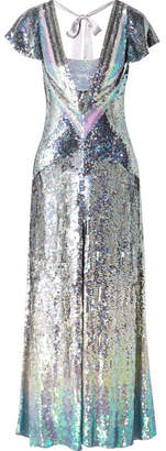 Temperley London Ruth Cutout Sequined Tulle Gown - Silver