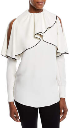 Valentino Cold-Shoulder Long-Sleeve Silk Cady Blouse