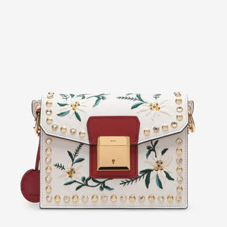 Bally Grimoire Small Beige, Women's embroidered leather shoulder bag in off-white