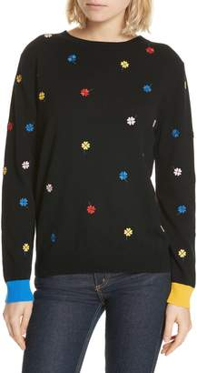 Chinti and Parker CHINTI & PARKER Embroidered Clover Cashmere & Wool Sweater