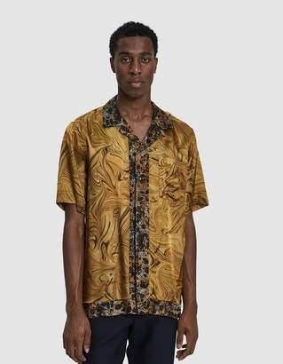 Dries Van Noten Camp Collar Button Up Shirt in Gold Multi
