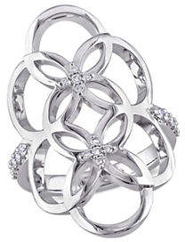 Catherine Malandrino Sterling Silver Linked Floral Ring with 0.16 TCW Diamonds