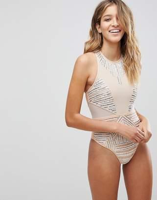 Asos DESIGN PREMIUM Silver Embellished Swimsuit