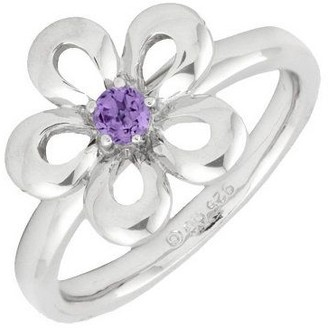Simply Stacks Sterling Flat Petals Gemstone Flower Ring