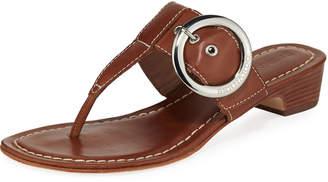 Bernardo Grace Leather Thong Slide Sandals, Brown