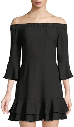 Romeo & Juliet Couture 3/4-Sleeve Off-The-Shoulder Ruffle Dress