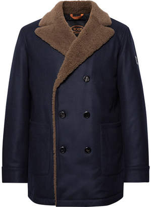 Tod's Double-Breasted Shearling-Trimmed Wool And Cashmere-Blend Peacoat