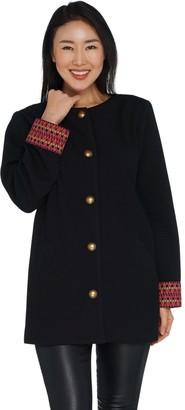 GRAVER Susan Graver Rib Knit Jacket with Cuff Detail