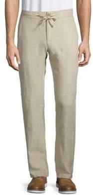 Black & Brown Black Brown Linen Drawstring Pants