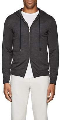 Eleventy Men's Wool-Silk Zip-Front Hoodie