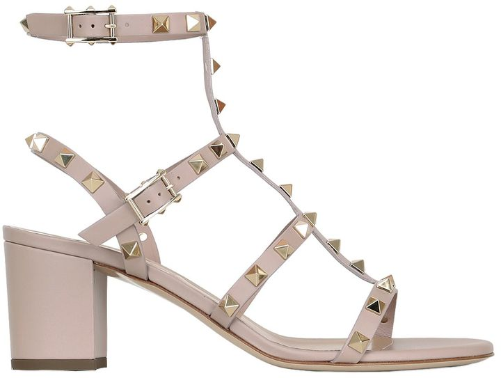 60mm Rockstud Leather Sandals