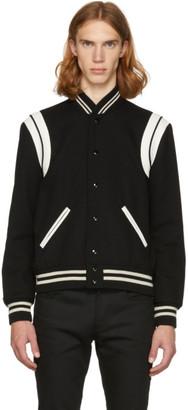 Saint Laurent Black and White Teddy Bomber Jacket