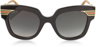 bc7c9d888c9 Gucci GG0281S Square-Frame Black Acetate Sunglasses w Sylvie Web Temples