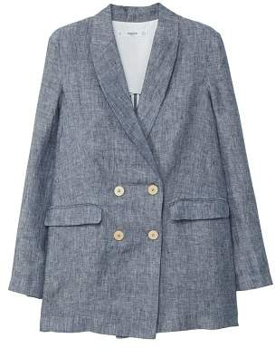 MANGO Linen double-breasted blazer