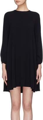 Co Peasant sleeve pleated crepe dress