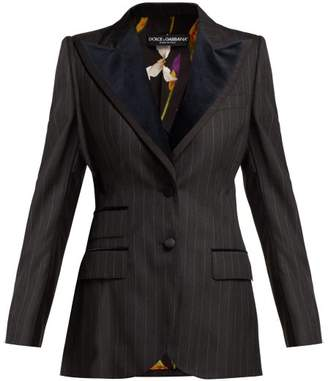 Dolce & Gabbana Single Breasted Pinstripe Wool Blend Blazer - Womens - Black Multi