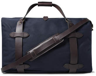 Filson Leather-trimmed Twill Duffle Bag - Midnight blue
