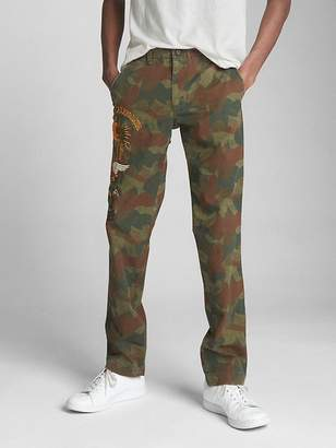 Gap Limited Edition Camo Print Pants in Slim Fit with Embroidered Details