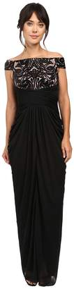 Adrianna Papell Off Shoulder Sequin and Stretch Tulle Gown Women's Dress