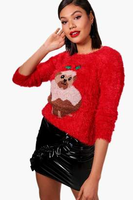 boohoo Pug Christmas Pudding Fluffy Knit Jumper