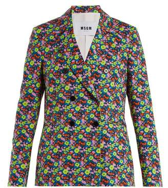 Msgm - Floral Print Cotton Twill Blazer - Womens - Black Multi