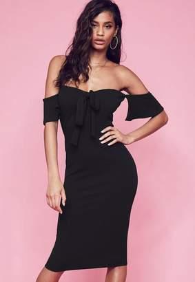 Missguided Black Stretch Crepe Tie Front Bardot Midi Dress