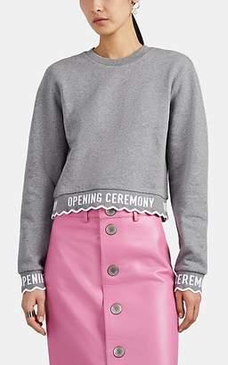 Opening Ceremony Women's Logo-Trimmed Cotton Fleece Sweatshirt - Gray