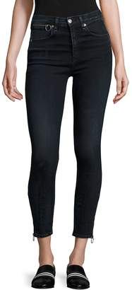 Rag & Bone Women's Dive High-Rise Ankle Zip Capri Jeans - Black, Size 29 (6-8)