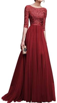 IBTOM CASTLE Women's Tulle Floral Lace Bridesmaid Long Dress Prom Evening Cocktail 3/4 Sleeves Floor Length Retro Vintage Formal Maxi Gowns 2XL