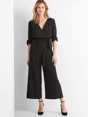 Tie-belt culotte jumpsuit