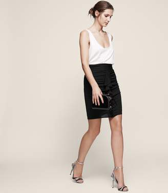 Reiss Chaser Ruched-Front Frill Skirt