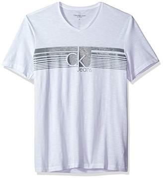 Calvin Klein Jeans Men's Lined Jeans V Neck Tee Shirt