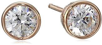 Swarovski Yellow Gold Plated Sterling Silver Bezel Stud Earrings set with Zirconia (1 cttw)