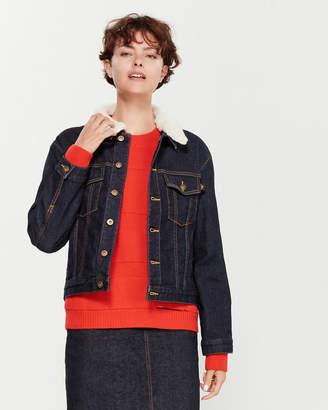 Le Mont St Michel Sherpa Collar Denim Jacket