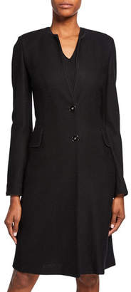 St. John Refined Textured Float Knit Two-Button Jacket w/ Piping Detail