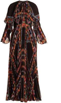 Etro Makalu geometric-print pleated chiffon gown