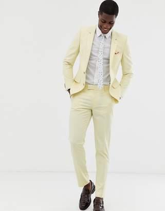 Asos Design DESIGN wedding skinny suit trousers in yellow