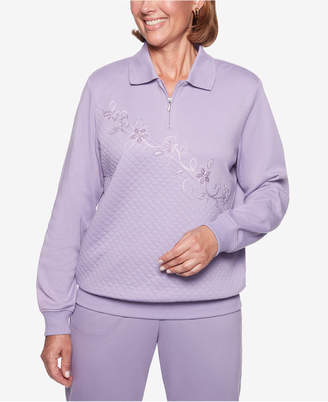 Alfred Dunner Petite At Ease Quilted Floral-Embroidered Sweatshirt