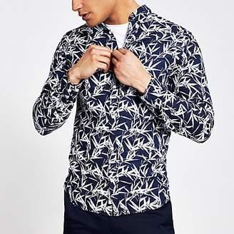 River Island Jack and Jones navy leaf print long shirt