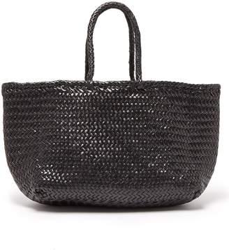 Com Dragon Optical Diffusion Grace Woven Leather Basket Bag