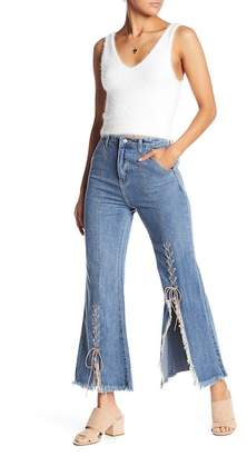 Wild Honey Lace-Up Flare Jeans