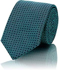 Barneys New York MEN'S OPEN-DOT SILK-COTTON JACQUARD NECKTIE-GREEN