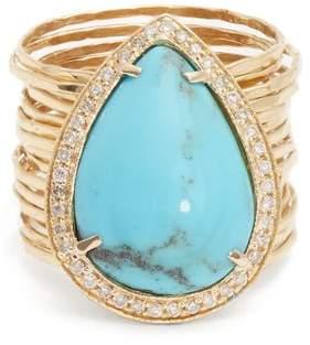 Diamond, turquoise & yellow-gold ring